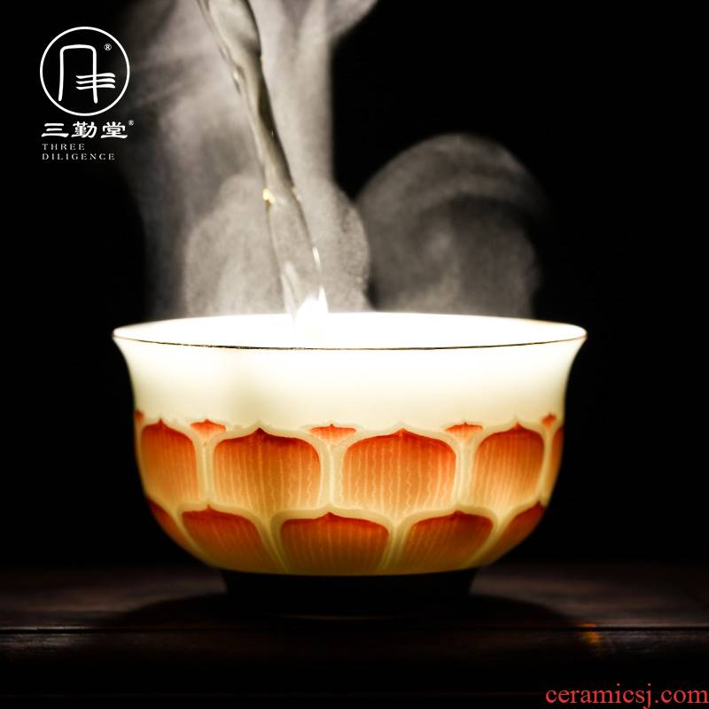 Kung fu tea cup three frequently hall jingdezhen ceramic sample tea cup tea cup celadon hand - made paint brahman red cups