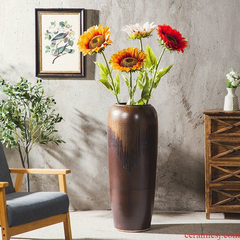Jingdezhen landing vase large - sized ceramic decoration to the hotel courtyard creative pottery flower arrangement to heavy high furnishing articles to restore ancient ways