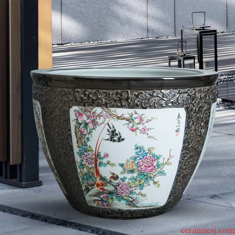 Landing a large ceramic archaize sitting room place home koi fish bowl aquarium landscape tortoise cylinder lotus