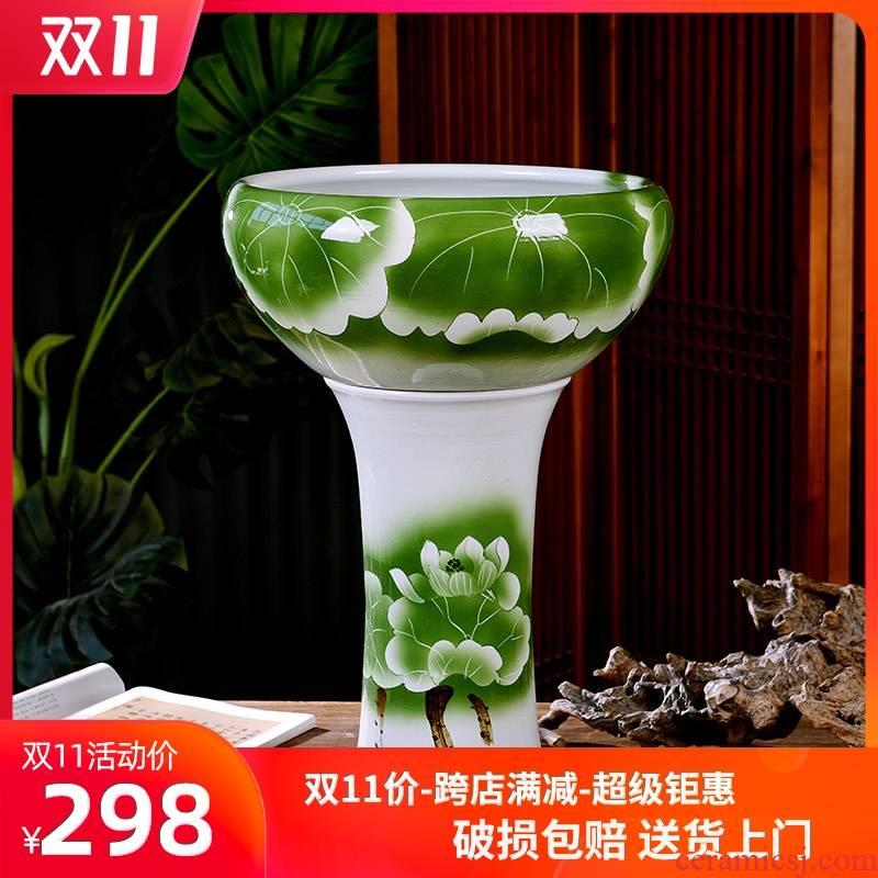 Jingdezhen ceramic fish bowl pillar aquariums sitting room informs the large gold is suing circular cylinder tortoise