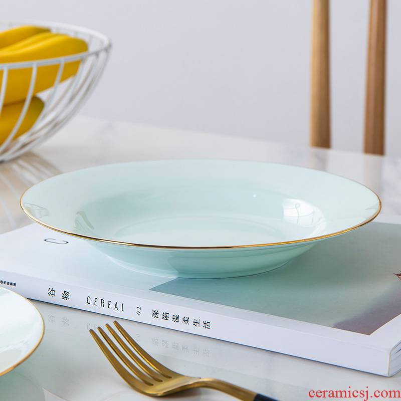 Up Phnom penh ipads porcelain child Chinese green contracted plate celadon glaze ceramic creative breakfast plate tableware household food dish