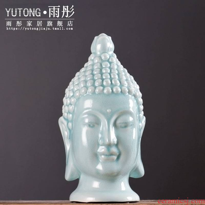 Jingdezhen ceramic ice cracked piece process beadle furnishing articles of Buddha club hotel business gifts ceramic arts and crafts