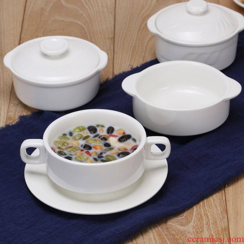 Double bowl cover skin milk bowl of stew soup bowl dish Luo Jiayong ears stew promotion steamed egg bowl dessert ceramics have western food