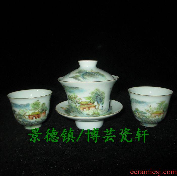 Submerged wood jingdezhen porcelain factory goods cultural revolution shadow blue glaze enamel hand - made scenery tureen tea cups