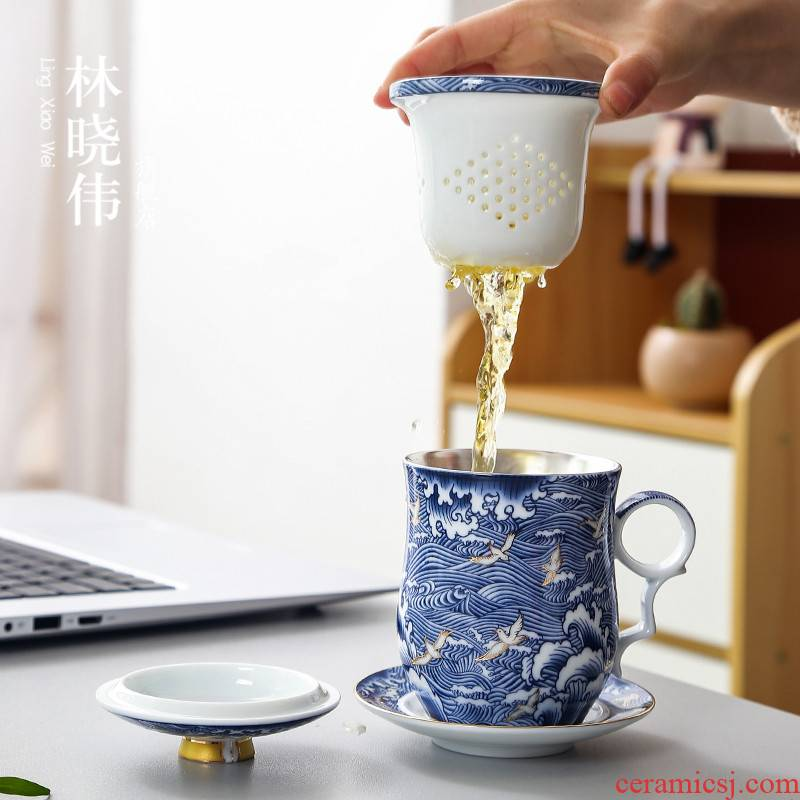 Lin Xiaowei coppering. As silver, blue and white porcelain ceramic cups with cover glass mugs domestic large capacity office people