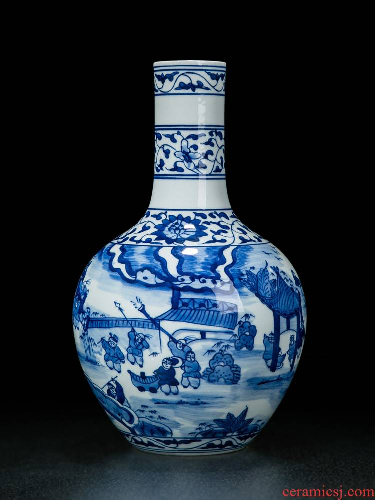 Vase furnishing articles flower adornment jingdezhen blue and white Vase ceramic antique wood, small desktop Chinese Vase