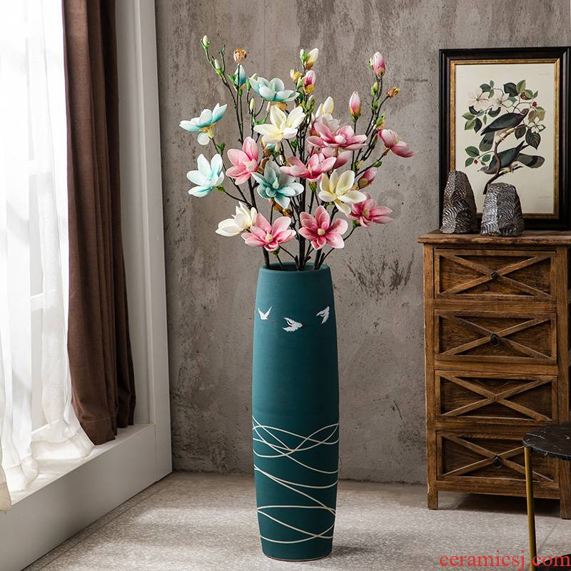 Jingdezhen ground vase ceramic large green hand - made home decoration vase simulation restoring ancient ways suit flower arranging flowers