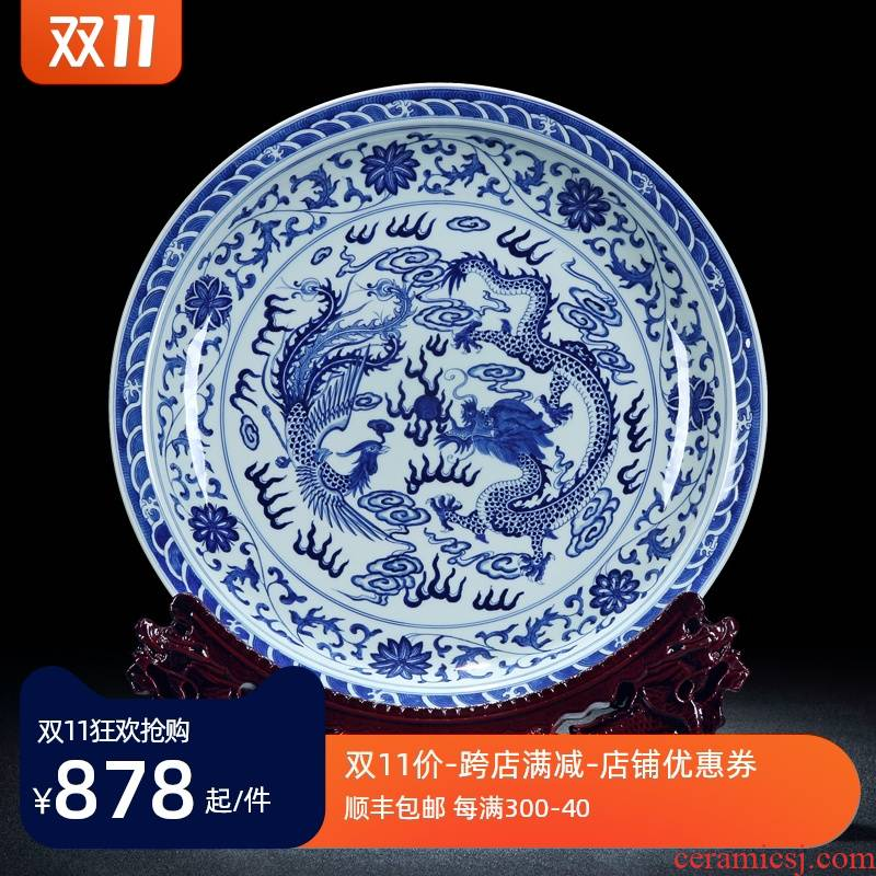 Chinese blue and white longfeng reward plate furnishing articles furnishing articles ceramic porch example room home sitting room ark, dish soft outfit decoration