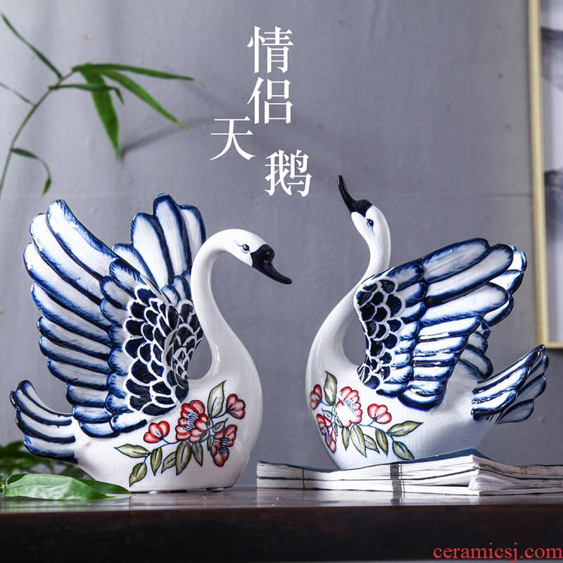 Blue and white porcelain ceramic swan sitting room porch ark adornment TV ark, furnishing articles household ceramic arts and crafts