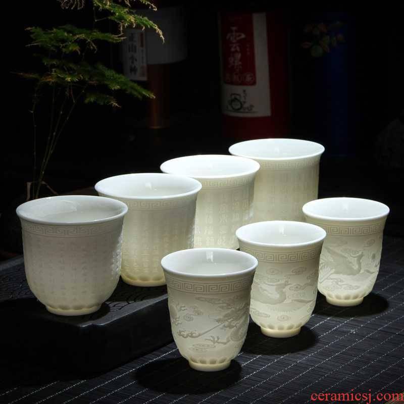 The Suet jade kung fu tea cups heart sutra master cup manual sample tea cup, ceramic keller cup tea but small bowl