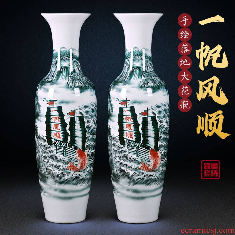 Jingdezhen ceramic floor big vase hand - made color ink to heavy hotel opening large living room home furnishing articles housewarming