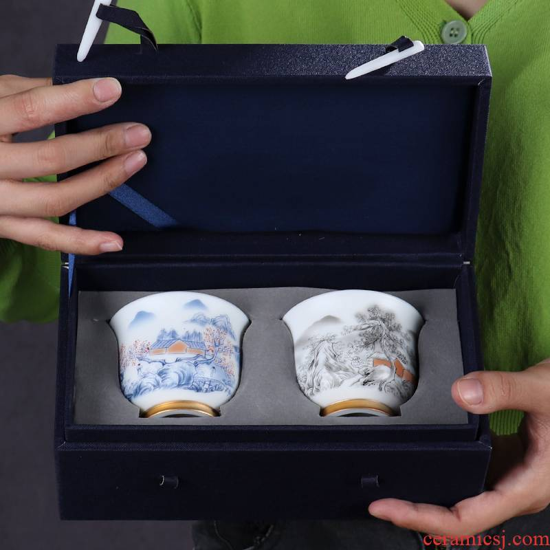 Hand - made ceramic cup gift boxes birthday gift kung fu master home office keller cup gift porcelain cups