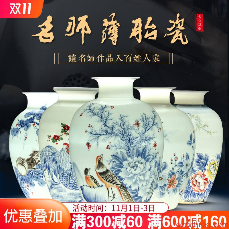 Jingdezhen ceramics hand - made of blue and white porcelain vases, the sitting room of Chinese style household decorations rich ancient frame handicraft furnishing articles