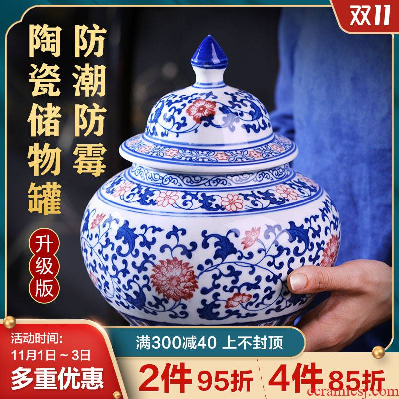 Canister of snacks of jingdezhen ceramics storage jar with cover seal household ceramic POTS awake trumpet the receive tea boxes