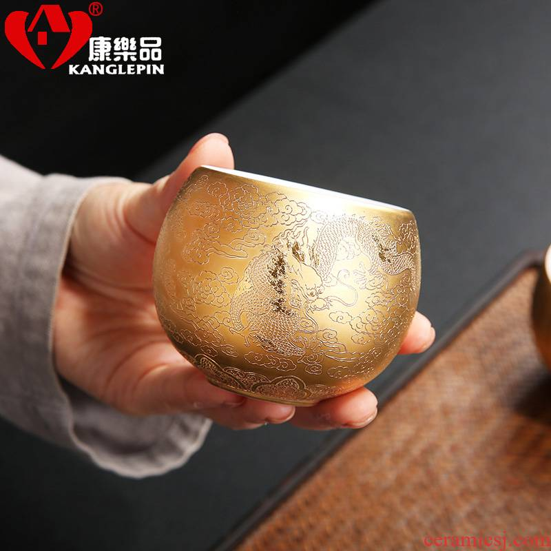 Recreational product suet jade porcelain fine gold relief master single cup large sample tea cup kung fu tea cups checking ceramic household