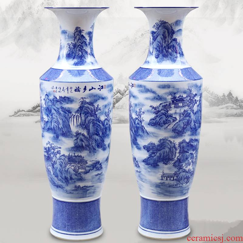 Jingdezhen ceramics glaze under the color blue and white porcelain vase jiangshan jiao sitting room more household handicraft furnishing articles