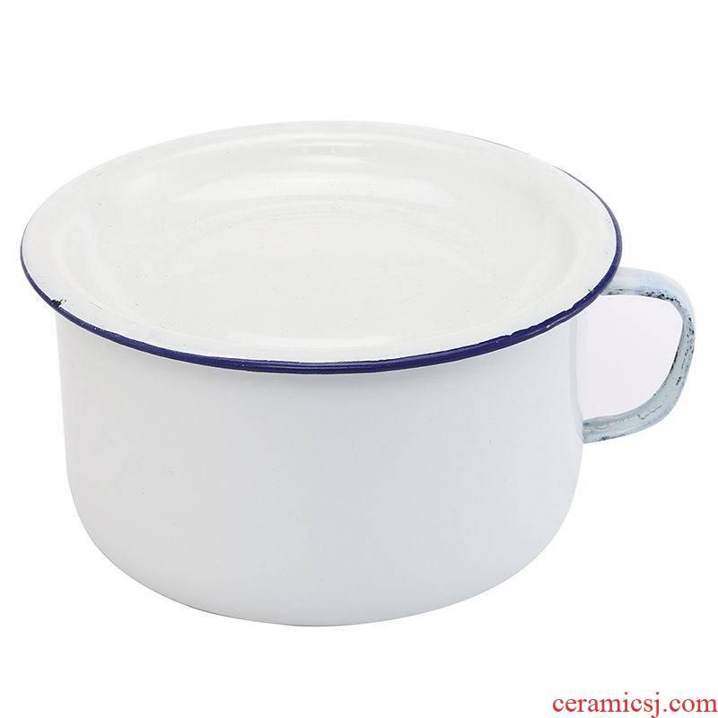 """14 cm16cm enamel old cup noodles enamel enamel fast food """"bringing meal nostalgic cylinder with cover to use"""