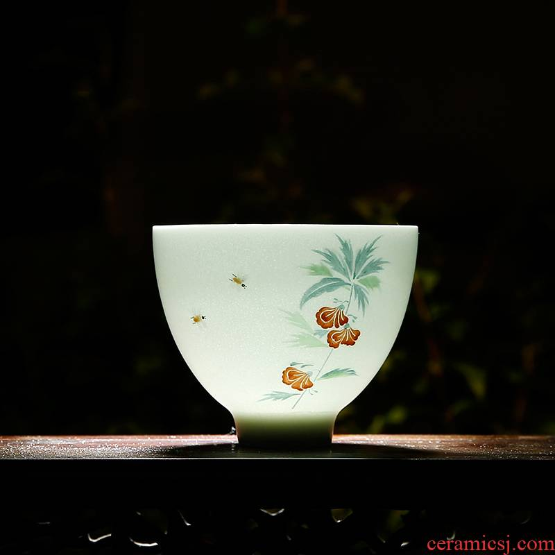 Three frequently hall master cup kung fu S42056 jingdezhen ceramic sample tea cup hand - made white porcelain cups celadon tea sets