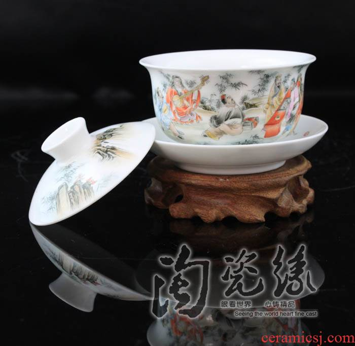 Flooded wood jingdezhen porcelain tea tureen manual only three hand pastel glass ceramic bowl cover cups of tea ware