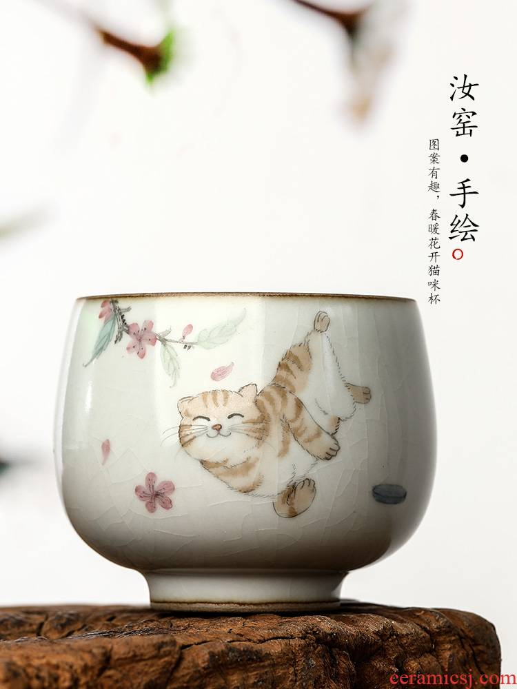 Your up hand - made the cat master cup single CPU jingdezhen checking ceramic kung fu tea set a single cup sample tea cup
