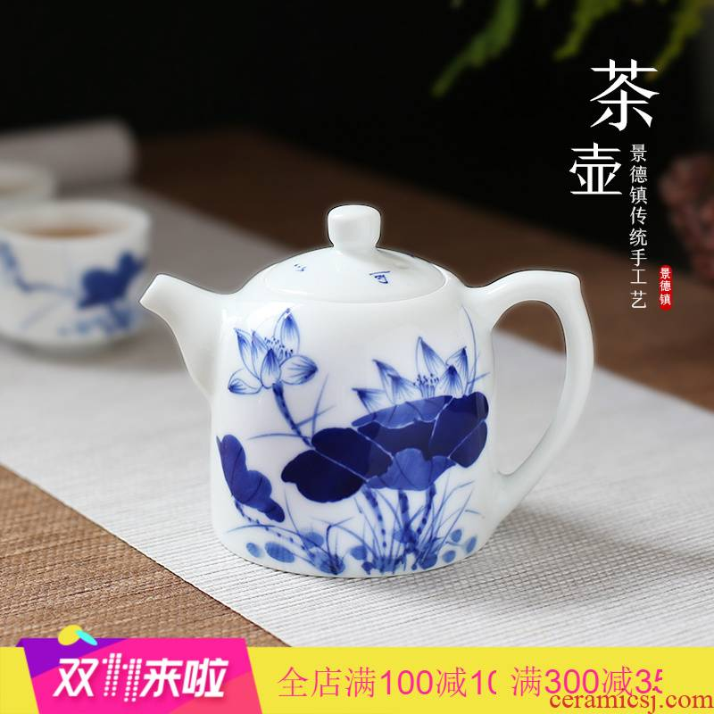 The Poly real scene hand - made kung fu tea pot of blue and white porcelain of jingdezhen ceramic cups white porcelain pot of Chinese style filter tea set