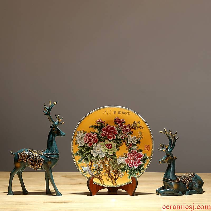 Jingdezhen ceramic classical hang dish of new Chinese style decoration plate of the sitting room art gift hand - made sat dish place ornament