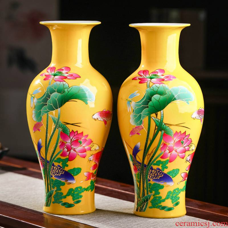 Jingdezhen ceramic powder enamel vase furnishing articles living room flower arranging Chinese style household wine rich ancient frame decorative porcelain