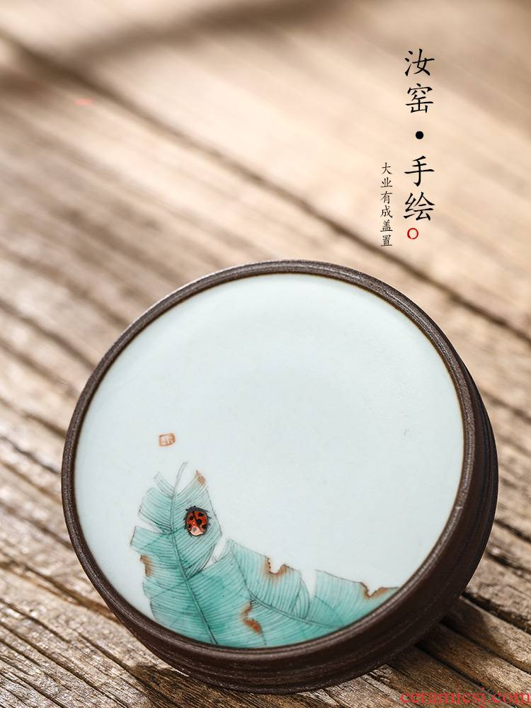 Jingdezhen your up cover buy pure manual cover a hand - made cause from the cup mat ceramics kunfu tea pad on the tea set