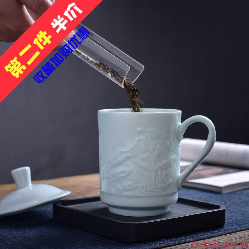 The Fire the boss cup one thousand conference cup household ceramics keller handle and exquisite carving office cup tea cup