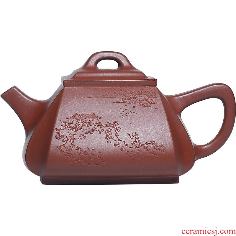 Shadow at present yixing it pure manual undressed ore bottom groove the qing four penghu - glance kung fu teapot corner stone gourd ladle