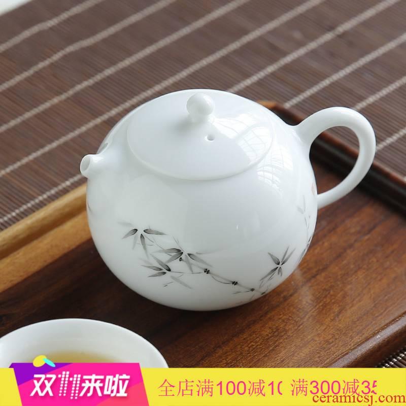 The Poly real boutique beauty scene office household jingdezhen ceramic filtering pot of flower pot mini kung fu tea set S
