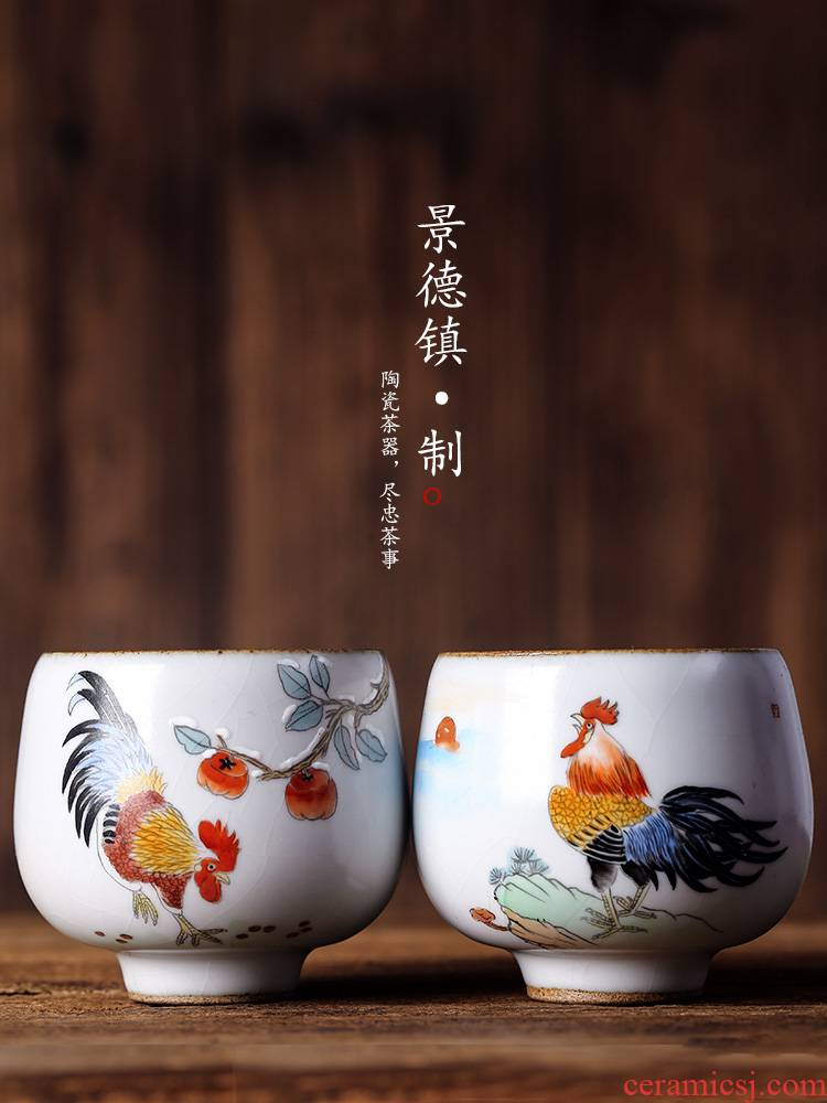 Jingdezhen ceramic teacups hand - made the master sample tea cup cup single cup chicken from the Chinese zodiac your up cracked cup