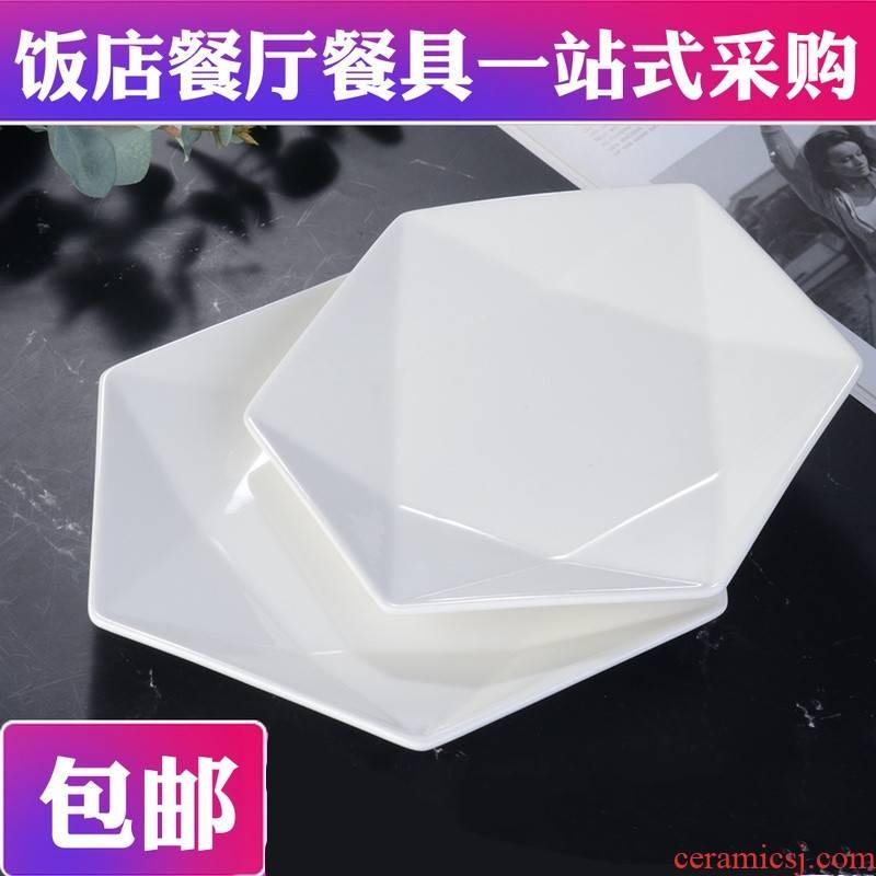 Stir - fry dish hexagonal ceramic hotel restaurant of the hotel home dish dish creative ltd. white plate