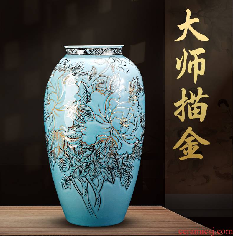 Jingdezhen chinaware paint hand - made vases light key-2 luxury furnishing articles of Chinese style living room TV ark, large home decoration