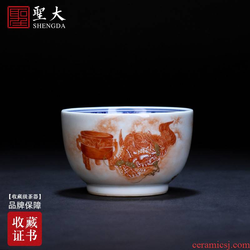 Holy big ceramic kung fu see the mythical wild animal grain master cup of jingdezhen blue and white kirin cup sample tea cup tea by hand