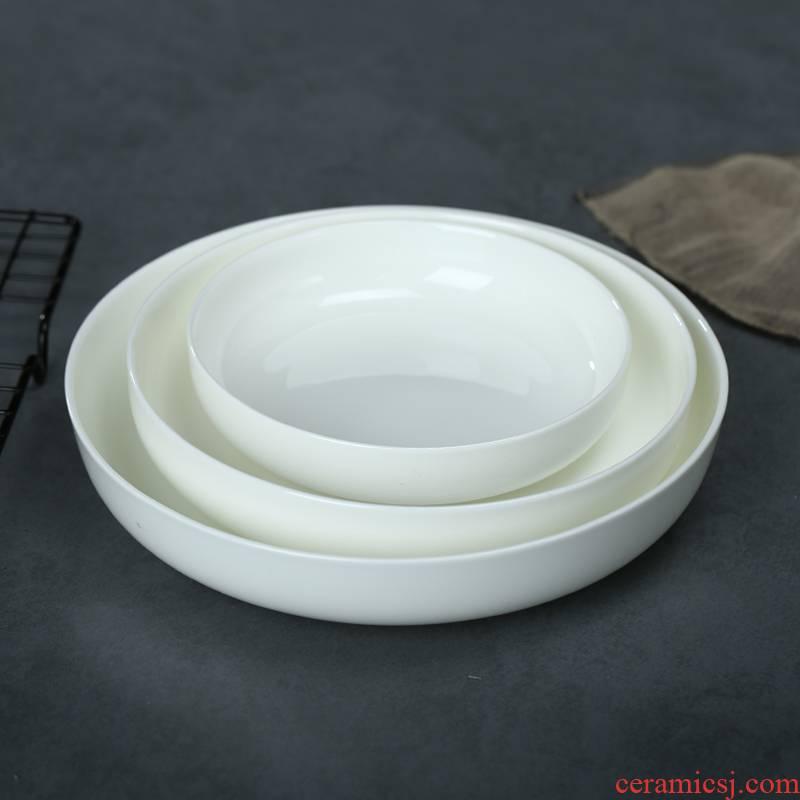 Creative household deep dish dish dish dish pure white dish dish dish soup plate ipads porcelain plates of jingdezhen ceramic plates