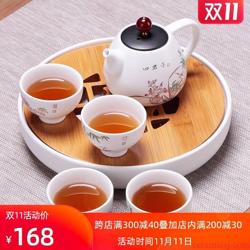 Portable simple set of a pot of four travel car kung fu tea set mini tea tray was suit small ceramic
