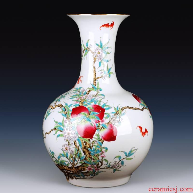 Jingdezhen large ground ceramic vases, flower arrangement craft sitting room of Chinese style household adornment TV ark, furnishing articles