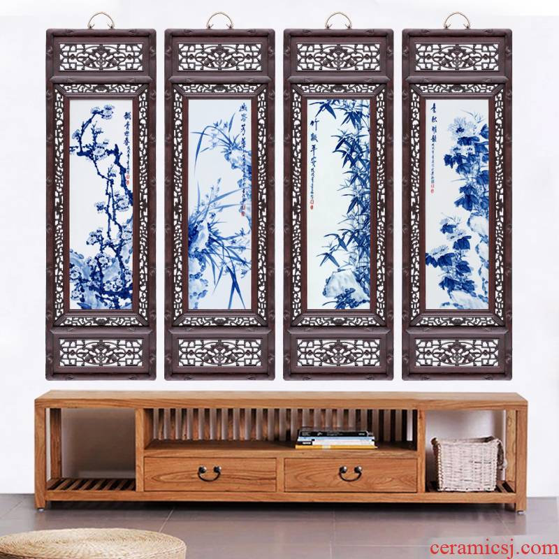 Jingdezhen hand - made by patterns home sitting room is the study of four screen Chinese style sofa setting wall adornment that hang a picture