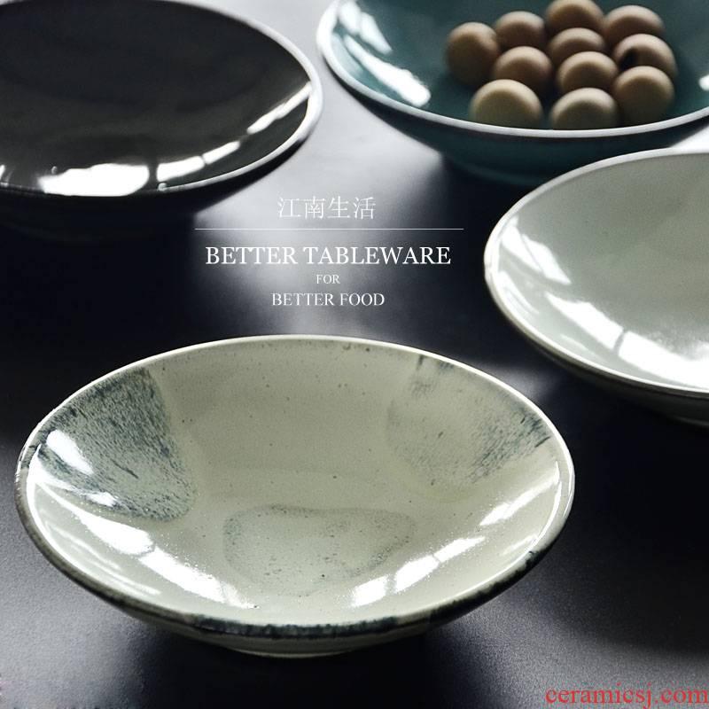 Jiangnan life coarse pottery Scandinavian minimalist retro 6 inch plate household utensils dessert dried ipads plate cold dish