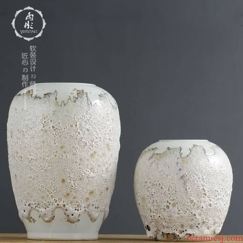 Jingdezhen ceramic vases, white glaze dried flowers flower arrangement home furnishing articles, the sitting room porch desktop TV ark, adornment