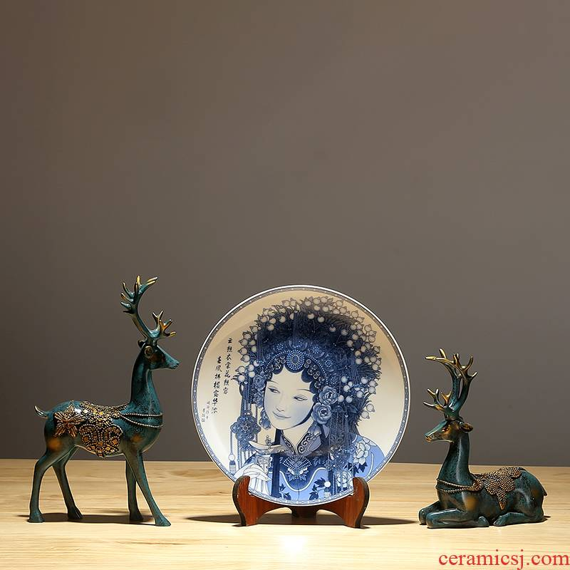 Jingdezhen ceramics hand - made facebook handicraft sitting room porch Chinese style household adornment TV ark, hanging plate