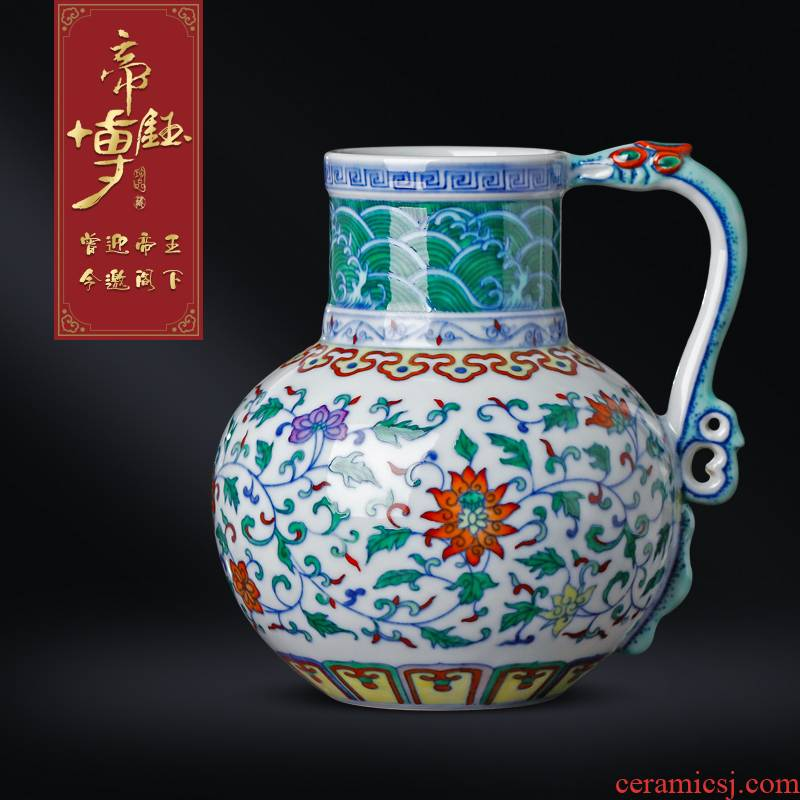 Blue and white color bucket hand - made antique vase jingdezhen ceramics furnishing articles furnishing articles of Chinese style flower watering the sitting room adornment