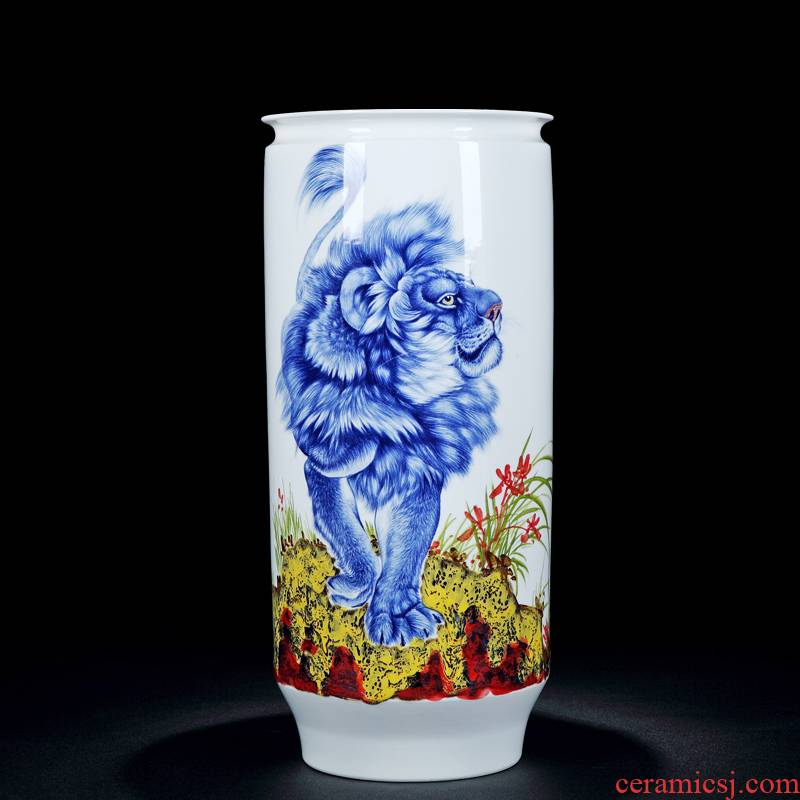 Jingdezhen ceramic vases, flower arranging hand - made the sitting room of Chinese style household decorations mesa vase Chinese straight bottle