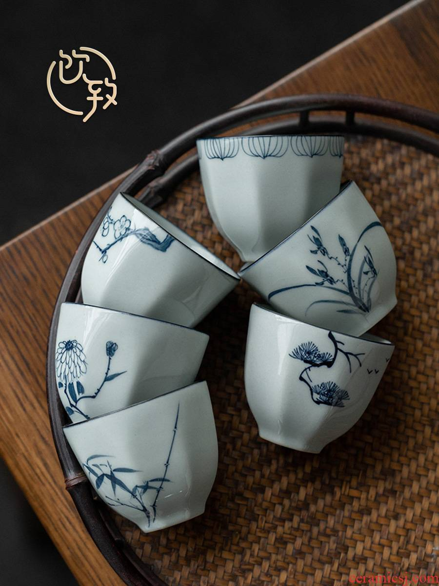 Ultimately responds to the blue and white porcelain cups hand - made personal sample tea cup kung fu tea set small master cup single CPU single restoring ancient ways