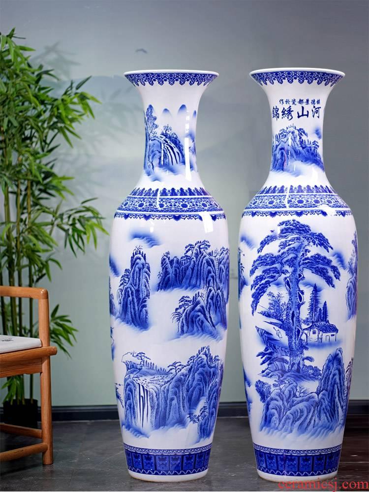 Jingdezhen blue and white porcelain was splendid landscapes of large vase furnishing articles furnishing articles home sitting room ceramic decoration