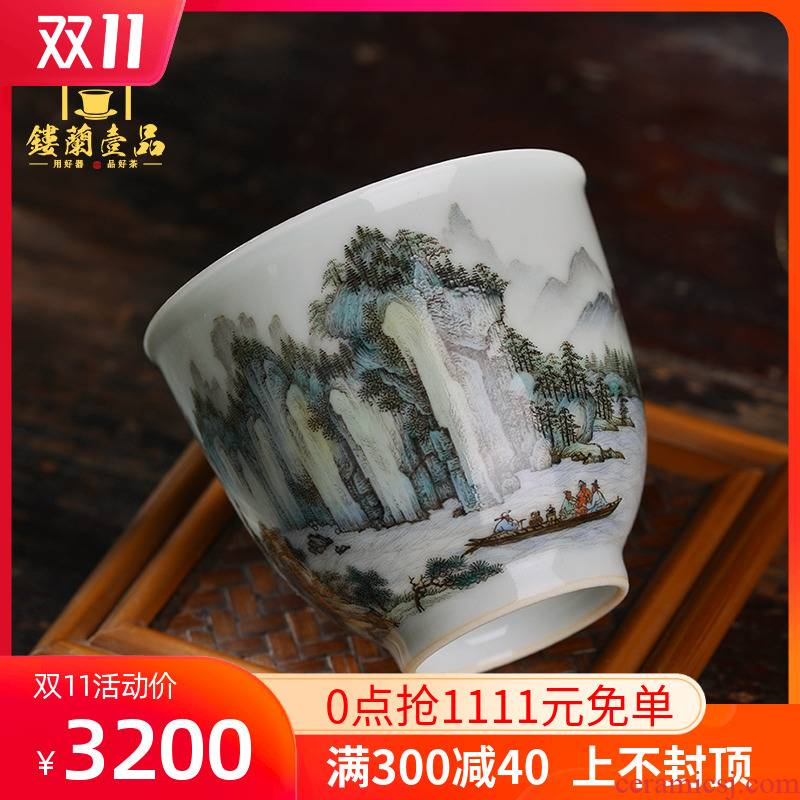 Jingdezhen ceramic all hand - made famille rose red cliff the vigil master cup kung fu tea tea cup single cup sample tea cup