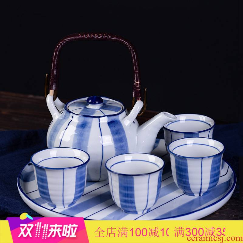 Poly real scene tea Chinese contracted household girder pot of high - end gifts ceramic teapot tea set of blue and white porcelain tea flower