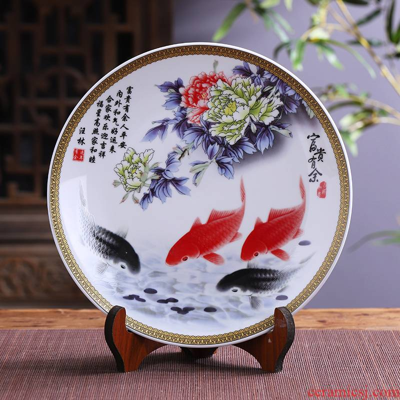 Jingdezhen porcelain ceramic well - off hang dish decorative plates of new Chinese style household TV ark, handicraft furnishing articles