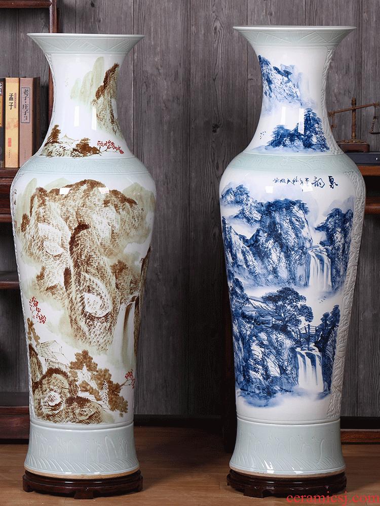 Jingdezhen ceramics big vase 1 meter landing home sitting room TV ark hotel porch place large vase